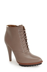 Calvin Klein 'Laneige' Lace Up Lugged Bootie Women Winter Taupe Leather