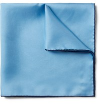 Emma Willis Contrast Tipped Silk Twill Pocket Square Light Blue