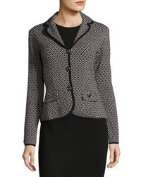 Biana Phoebe Diamond Print Knit Jacket Black Silver