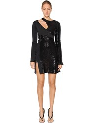 Thierry Mugler Asymmetrical Sequined Crepe Dress