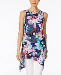 Cable And Gauge Floral Print Asymmetrical Tunic Top Printed Floral