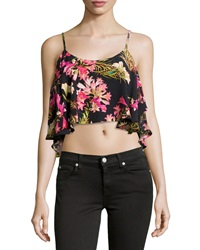 Lovers Friends Chiffon Tropical Print Crop Top Black Multicolor