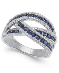 Effy Collection Royale Bleu By Effy Sapphire 1 Ct. T.W. And Diamond 3 8 Ct. T.W. Ring In 14K White Gold Blue