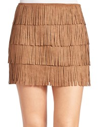 California Moonrise Layered Fringe Mini Skirt Brown