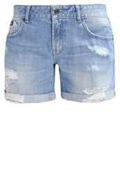 Superdry Steph Denim Shorts Authentic Light Wash Destroyed Denim