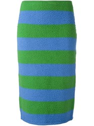 Max Mara Striped Mid Pencil Skirt Green