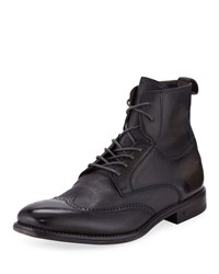 John Varvatos Irving Paneled Wing Tip Boots Gray