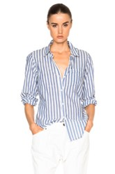 Nili Lotan Button Up Top In Stripes Blue