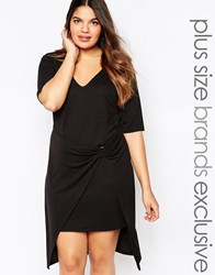 Pink Clove Drape Front Shift Dress With D Ring Detail Black