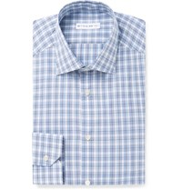Etro Slim Fit Plaid Cotton Shirt Blue