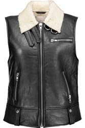 W118 By Walter Baker Lisa Faux Shearling Lined Leather Vest Black
