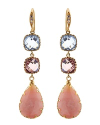 Indulgems Pink Opal And Glass 3 Drop Earrings