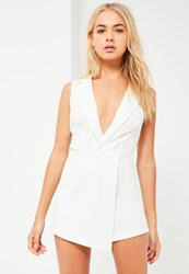 Missguided White Satin Lapel Wrap Sleeveless Blazer Playsuit