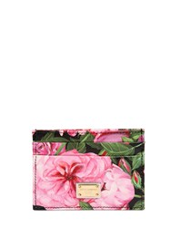 Dolce And Gabbana Rose Printed Leather Card Holder