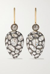 Fred Leighton Collection Silver Topped 18 Karat Gold Diamond Earrings One Size