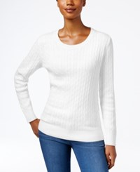 Karen Scott Crew Neck Cable Knit Sweater Only At Macy's Winter White
