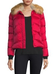 Post Card Quilted Fur Jacket Red