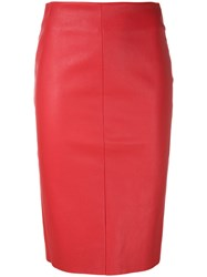 Drome Fitted Leather Skirt Red