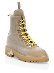 Off White Canvas Hiking Boots Sand