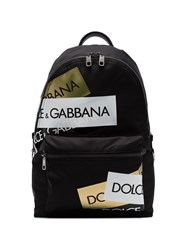 Dolce And Gabbana Logo Patch Backpack Black