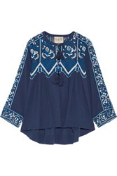 Sea Tasseled Lace Paneled Cotton Voile Top Navy