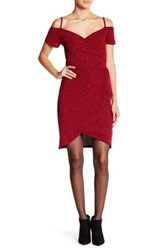 Angie Cold Shoulder Faux Wrap Dress Red