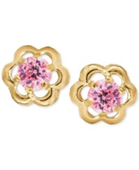 Macy's Children's Pink Cubic Zirconia Flower Screwback Stud Earrings In 14K Gold Yellow Gold