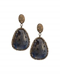 Bavna Champagne Diamond And Sapphire Drop Earrings