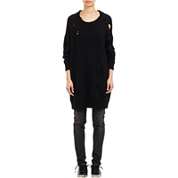 R 13 Big Slouchy Shredded Sweater Black
