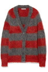 Alexander Wang T By Striped Mohair Blend Cardigan Red