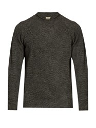 Massimo Alba Raglan Sleeved Yak Honeycomb Knit Sweater Dark Grey