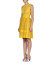 Fendi Open Lattice Knit A Line Dress Yolk Yellow