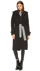 Norma Kamali Double Breasted Wrap Trench Coat Dark Grey
