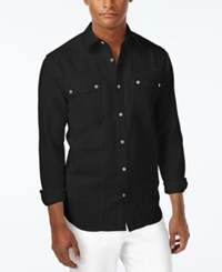 Sean John Men's Lightweight Long Sleeve Shirt Pm Black