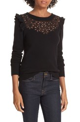 Rebecca Taylor Emilie Embroidered Sweater Black