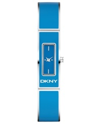 Dkny Watch Women's Blue Enamel And Stainless Steel Bangle Bracelet 33X13mm Ny8757