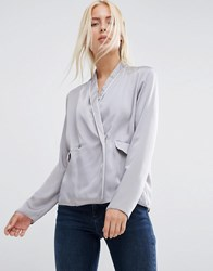 Asos Satin Wrap Front Pyjama Blouse Grey