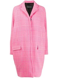 Gianluca Capannolo Houndstooth Pattern Single Breasted Coat Pink