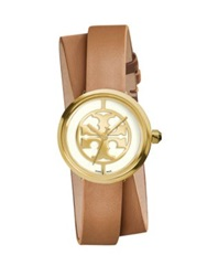 Tory Burch Reva Goldtone Stainless Steel And Leather Double Wrap Strap Watch Brown Gold Cognac