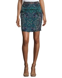 See By Chloe Mosaic Print Pencil Skirt Black Multi