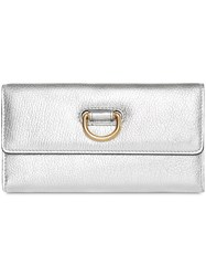 Burberry D Ring Metallic Leather Continental Wallet Silver