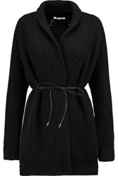 Helmut Lang Cable Knit Wool And Cashmere Cardigan Black