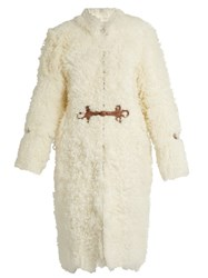 Roberto Cavalli Leather Embellished Shearling Coat White