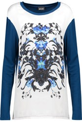 Just Cavalli Printed Silk Paneled Jersey Top Storm Blue