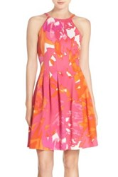 Vince Camuto Print Scuba Fit And Flare Dress Pink