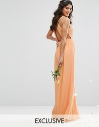Tfnc Wedding Pleated Maxi Dress With Back Detail Warm Apricot Orange