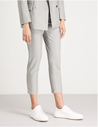 Moandco. Pinstriped Skinny Cropped Wool Trousers Grey And White
