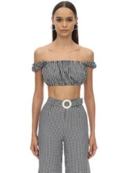 Solid And Striped Puff Sleeve Poplin Gingham Cropped Top Black