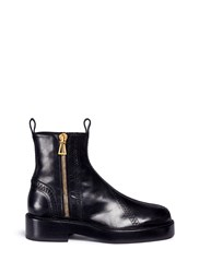 Ellery 'Venus' Zigzag Stitch Zip Leather Boots Black