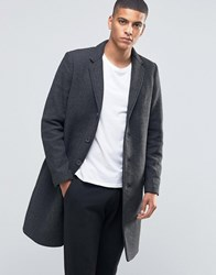Selected Homme Herringbone Overcoat Charcoal Grey